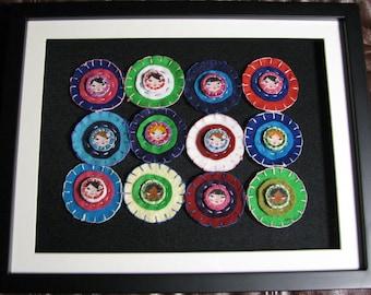 Framed penny rug, felt, Matryoshka Doll faces, bright colors, shadowbox