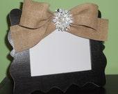 Distressed 5x7 Black Frame with Burlap Bow & Brooch Embellishment - Distressed Wedding Frame - Burlap Wedding Frame