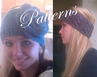 2 PDF Patterns  Knitted Headband with Flower and Cabled Earwarmer Headwraps