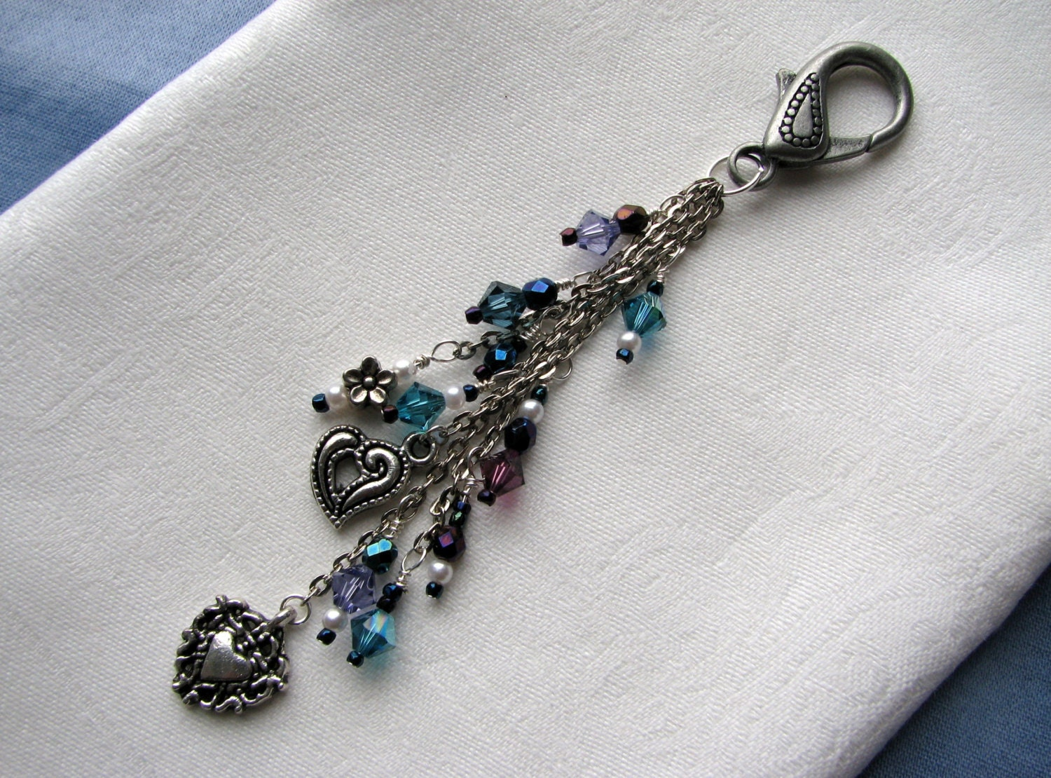 zipper pull purse pull charms hearts and flowers swarovski