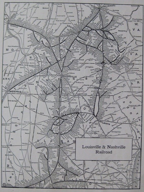 1918 Louisville And Nashville Railroad Map Black And White