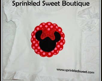 Cute Mouse Custom Minnie Inspired Scallop Applique Monogram Shirt Perfect For First Disney Trip