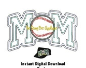 DD BASEBALL MOM Open Edge Applique - Machine Embroidery 5x7 or 9x7 Hoop Instant Download - Great For Cadet Caps or Totes