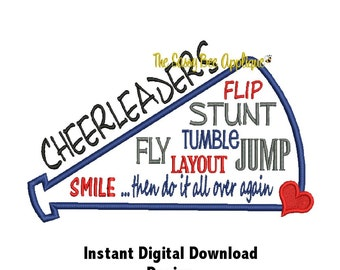 DD CHEERLEADERS Do It Over Again Applique - Machine Embroidery Design - 3 Sizes - Instant Download
