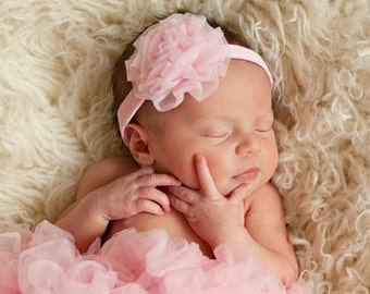 Pink Chiffon Rosette Flower Headband for Baby Girl