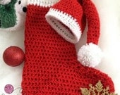 Crocheted Infant/Newborn photo prop, Santa hat and stocking Cocoon, shimmering ,Christmas  prop