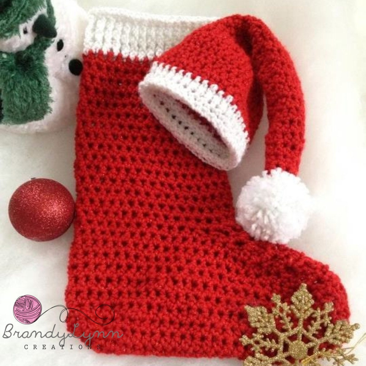 Crocheted Infant/Newborn photo prop Santa hat and stocking