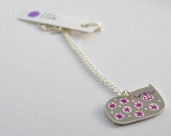Cat Pendant Necklace in Grey and Cerise Pink, Retro Cat Handmade Design