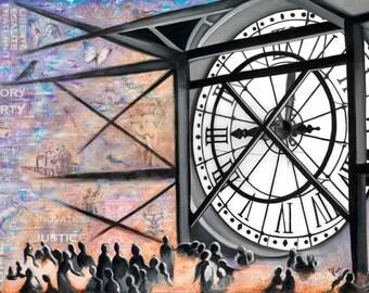 Orsay Clock, Signed Art Print Home Decor, Parisian Art