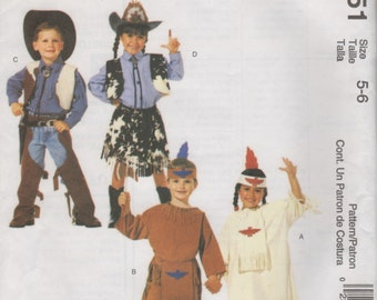 Easy-to-Sew Cowboys and Indians costumes - Children's Sewing Pattern - Size 5-6 - Adorable Halloween -McCall's 2851