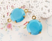 Vintage Opaque Turquoise Blue Rhinestone 11mm Round Set Stone Drop or Connector 47ss Prong Raw Brass, Antique Silver or Black Settings – 2