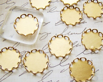 13mm Round Brass Lace Edge Scalloped Cabochon Settings Connectors Drops - 12