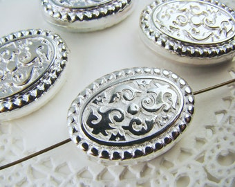 Large Oval Floral Etched Silver Metalized Plastic Beads - 4