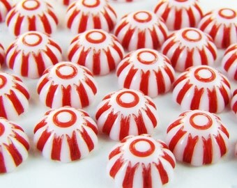 Vintage Plastic Red & White Candy Stripe 8mm Cabochons - 10