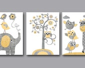 Baby Boy Girl Nursery Art Print Childrens Wall Art Baby Room Decor Kid Print set of 3 Elephant Giraffe Tree Owl Yellow Gray Baby Art Print /
