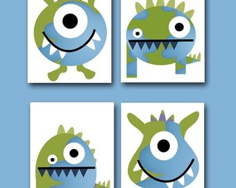 Childrens Art Kids Wall Art Baby Boy Room Decor Baby Boy Nursery Kids Art Baby Nursery Print set of 4 Boy Print Monsters Blue Green