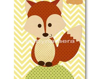 Fox Nursery Art Print Childrens Wall Art Baby Boy Nursery Art Kids Print Nursery Decor Boy Baby Wall Art Yellow Green Baby Art Prints
