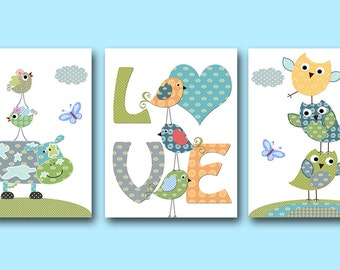 Nursery Wall Art Baby Boy Nursery Art Print Children Wall Art Baby Room Decor Kids Print set of 3 Owls Birds Cow Blue Green Love