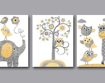 Childrens Wall Decor elephant baby boy nursery art prints children wall art baby