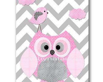 Baby Shower Gift Owl Bird Baby Girl Nursery Art Print Childrens Wall Art Baby Room Decor Kids Print Nursery Decor Bird Owl Rose Gray