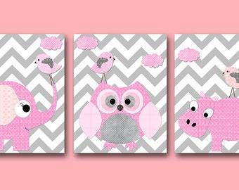 Owl Bird Hippopotamus Elephant Baby Girl Nursery Art Print Children Wall Art Baby Room Decor  set of 3 pink Bird Owl Elephant Rose Gray