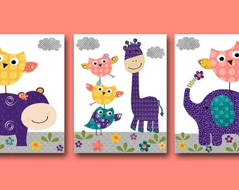 Elephant Giraffe Owl Baby Girl Nursery Art Print Kids Wall Art Baby Room Decor set of 3 Elephant Giraffe Owl Nursery Hippopotamus Purple