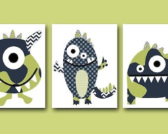 Baby Nursery Decor Monsters Nursery Baby Boy Nursery Art Nursery Wall Art Kids Room Decor Kids Art Boy Print set of 3 8x10 Blue Green Navy