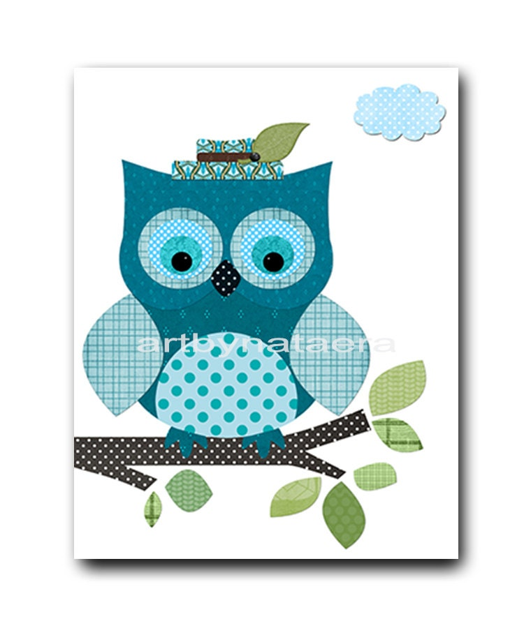 Owl decor owl nursery baby boy nursery art print childrens for Baby owl decoration