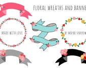 Floral Banners and Wreaths Clip Art - Instant Download  - personal or commercial use - digitally hand drawn