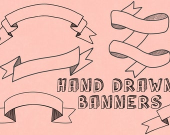 Banner Clip Art  - Instant Download - hand drawn banners - personal or commercial use - banners - buntings - logo design