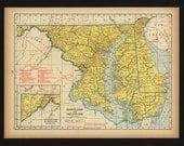 Vintage Map Maryland Delaware From 1944 Original