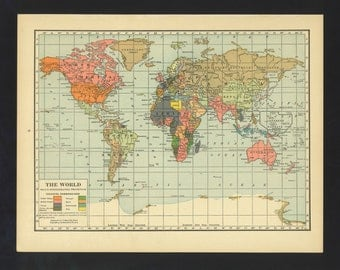 Vintage Map World From 1930 Original