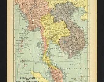 Vintage Map Thailand Burma Indochina Siam From 1930 Original
