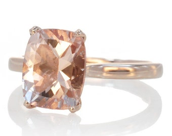 Rose Gold 9x7 mm Cushion Cut Morganite Solitaire Plain Gold Shank Engagement Ring Bridal Anniversary Ring