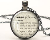 Personalized Dictionary Word Necklace, Custom Text Pendant Jewelry (DICTG1IN)