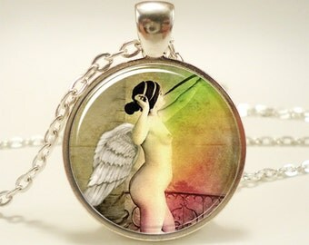 Angel Necklace, Fantasy Pendant, Colorful Jewelry (1418S1IN)