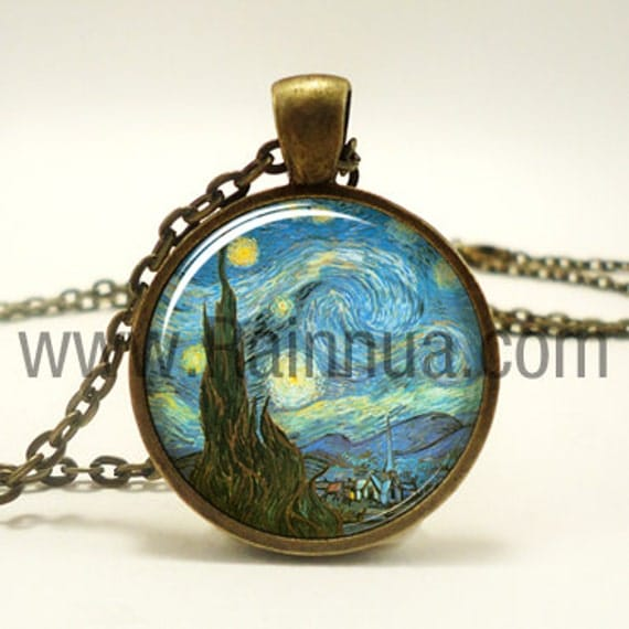 The Starry Night Necklace, Vincent van Gogh Pendant, Bronze (0422B1IN)
