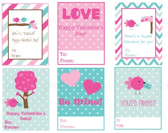 Sweet Birds- Printable Kids Valentine Cards