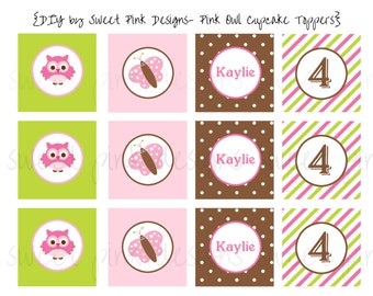 "Printable 2"" Party Circles- Pink Owl Party Collection"