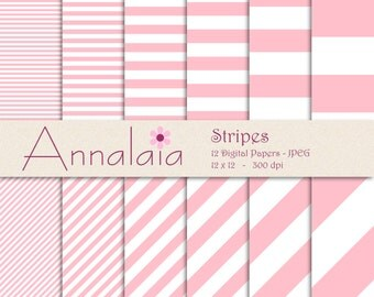 INSTANT DOWNLOAD Digital Paper Pack: Pink White Horizontal Diagonal Stripes Scrapbook Paper 12x12 8,5x11 Baby Girl Commercial Use 370