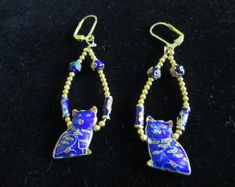 Cobalt blue Cloisonne Cat Earrings