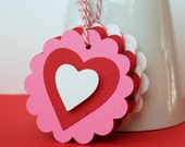 6 Tri-Layered Valentine Tags / Gift Tags / Love Day Hang Tags / Labels (2.5 inch)