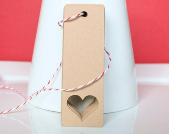 "30 - Kraft Heart Cut Out Hang Tag / Book Mark / Label - 1"" x 3"""