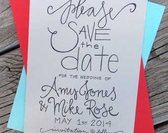 Simple Save the Date . Simple Calligraphy Save the Date Wedding Announcement . Simple Wedding Save the Date .