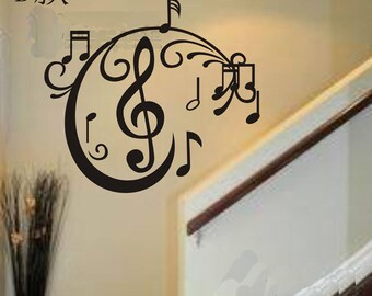 60x55cm Removable Music Note  Nature Vinyl Wall Paper Decal Art Sticker Q862-3