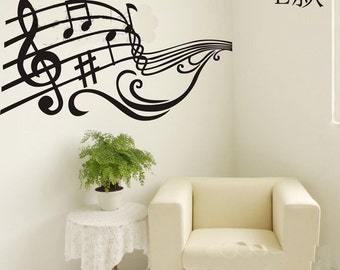 95x50cm Removable Music Note  Nature Vinyl Wall Paper Decal Art Sticker Q862-4