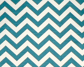 1/2 yard Zig Zag Aquarius Blue Premier Prints Chevron - Slub Fabric  Home Decor Weight
