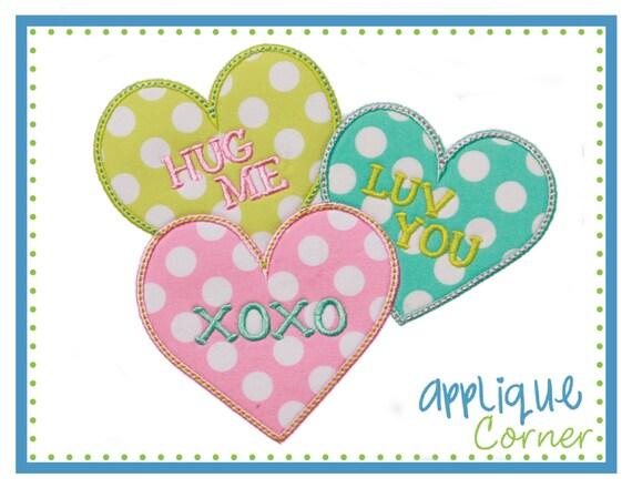 Valentine words heart s day applique design