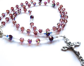 Rosary Beads, First Holy Communion gift, Bride gift, Prayer gift, Custom Order, Crystal Rosary