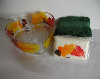 Handpainted Fall Leaves Heart Dish Soap and Washcloth